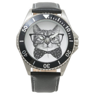 cat bow tie - Glasses cat - glass cat Watch