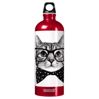 cat bow tie - Glasses cat - glass cat Water Bottle