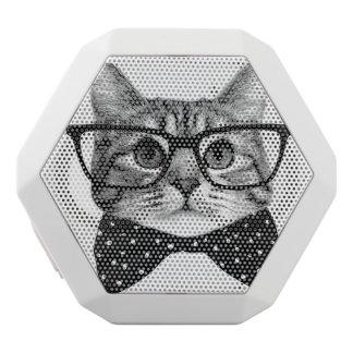 cat bow tie - Glasses cat - glass cat White Bluetooth Speaker