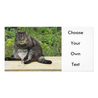 Cat Bram on the table with a wine glass Photo Card Template