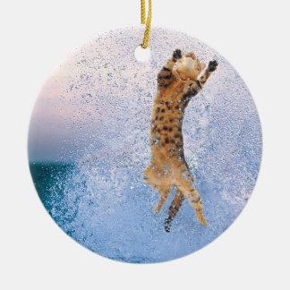 Cat Breaching Round Ceramic Decoration