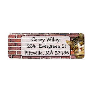 Cat Brick Wall  background  Address Label