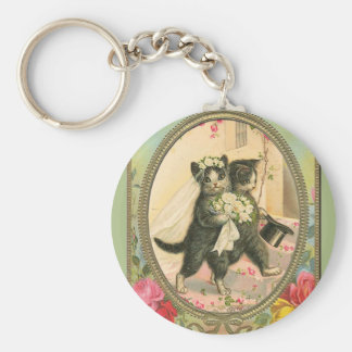 Cat Bride and Groom Wedding Day Basic Round Button Key Ring