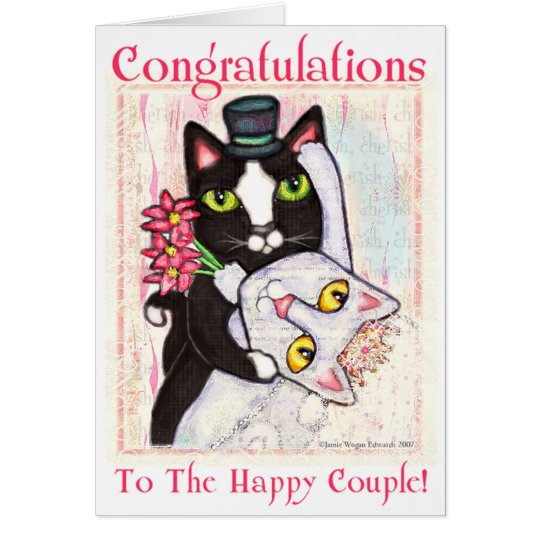 Cat Bride & Groom Wedding Dance Greeting Card