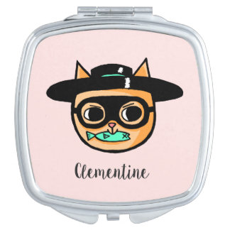 Cat Burglar Illustration with First Name Travel Mirror