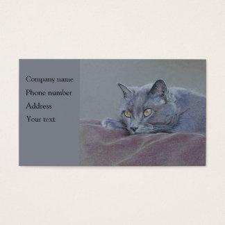Cat business card, relaxing, art.