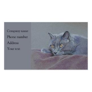 Cat business card, relaxing, art. pack of standard business cards