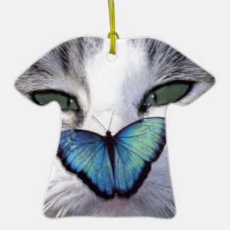 cat but Double-Sided T-Shirt ceramic christmas ornament