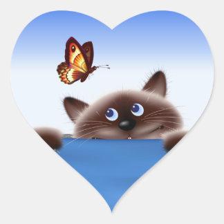 Cat & Butterfly Heart Sticker