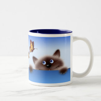 Cat & Butterfly Two-Tone Coffee Mug