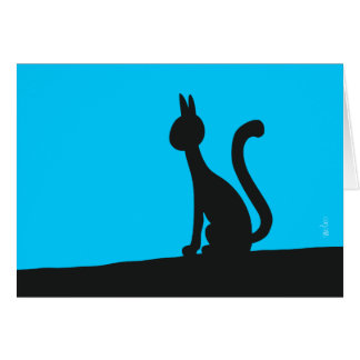 Cat calmly watching in silence card