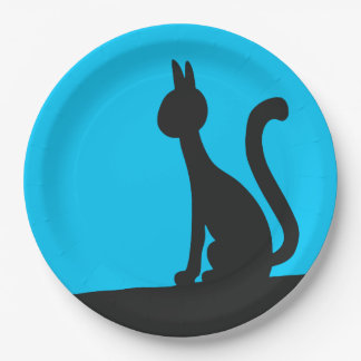 Cat calmly watching in silence paper plate
