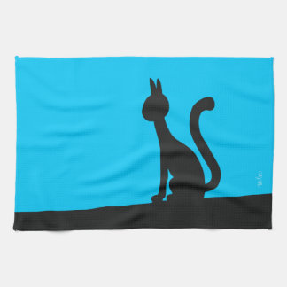 Cat calmly watching in silence tea towel