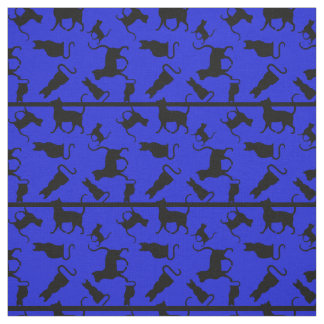 Cat/cats Kitten/kitty, silhouette, blue striped Fabric