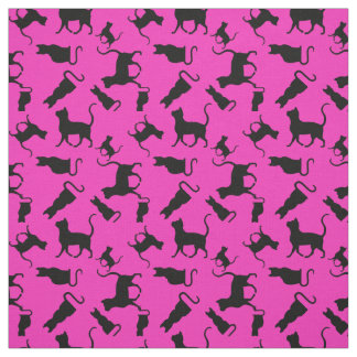 Cat/cats Kitten/kitty, silhouette, bright pink Fabric