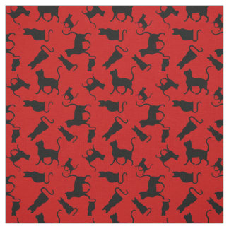 Cat/cats Kitten/kitty, silhouette, bright red Fabric