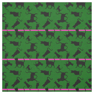 Cat/cats Kitten/kitty, silhouette, green striped Fabric