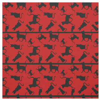 Cat/cats Kitten/kitty, silhouette, red striped Fabric