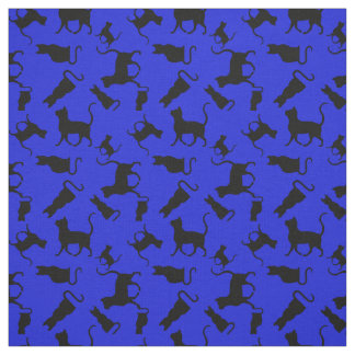 Cat/cats Kitten/kitty, silhouette, royal blue Fabric