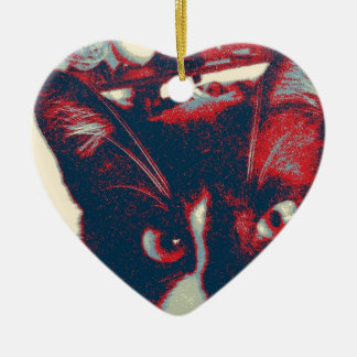 cat ceramic heart decoration
