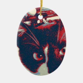 cat ceramic oval decoration