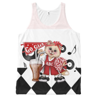 CAT CHEERLEADER AllOver Printed Unisex Tank All-Over Print Tank Top