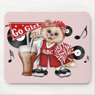 CAT CHEERLEADER CARTOON CUTE MOUSE PAD 2