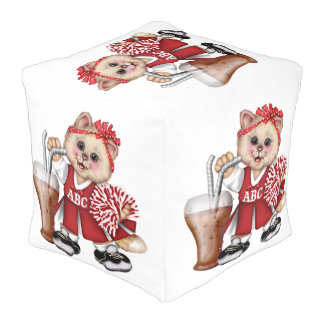 CAT CHEERLEADER CUTE Polyester Cubed Pouf (LARGE)