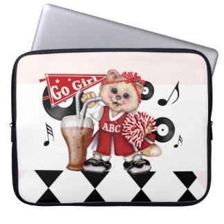 "CAT CHEERLEDER CUTE Electronics Bag 15 inch"" Computer Sleeve"