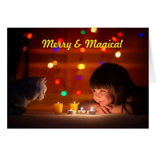Cat & Child Christmas Greeting Card