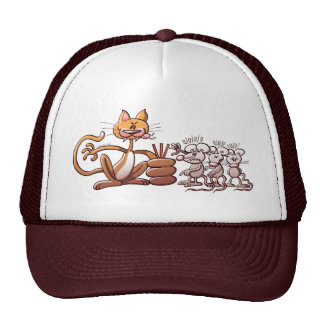 Cat Choosing a Mouse by Drawing the Short Straw Trucker Hats