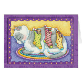 Cat Christmas Card With Little Mice In Stockings