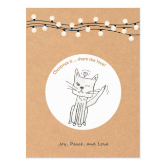 Cat Christmas Postcard