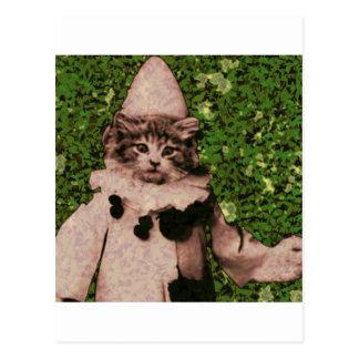 Cat clown postcard
