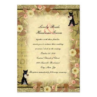 Cat Coffee Lovers Collage Style Wedding Invitation