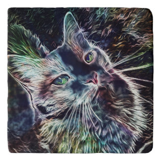 Cat Colorful Fantasy Marble Stone Trivet