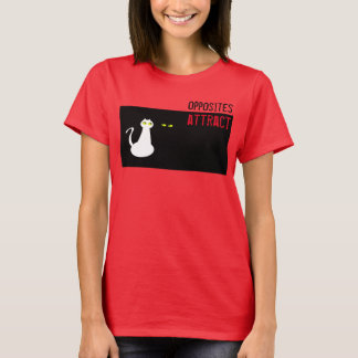 Cat Couple Black White Opposites Attract Stylish T-Shirt