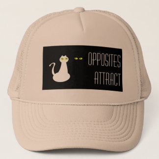 Cat Couple Black White Opposites Attract Stylish Trucker Hat