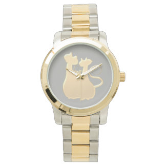 Cat Couple Classy Elegant Silhouette Love Golden Watch