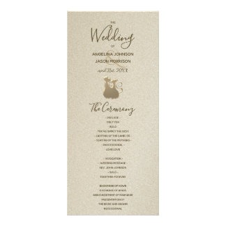 Cat Couple Golden Sandstone Classy Wedding Program Rack Card
