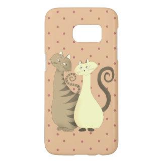 Cat Couple Love Cartoon Cute Pink Pale Polka Dots