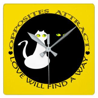 Cat Couple Love Flirting Opposites Black White Square Wall Clock