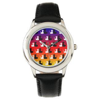 Cat Couple Love Pattern Vibrant Trendy Neon Cool Watch