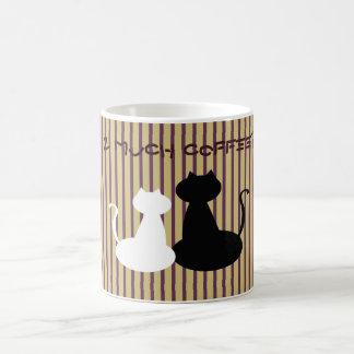 Cat Couple Love Silhouette Too Much Coffee Stripes Coffee Mug
