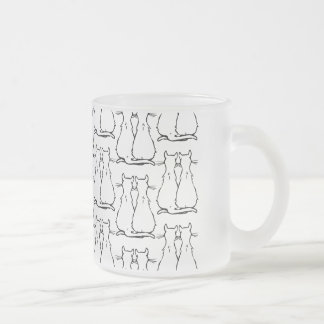 CAT COUPLES FROSTED GLASS COFFEE MUG
