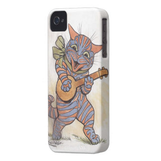 Cat crazy with banjo Louis Wain vintage art, gift iPhone 4 Case