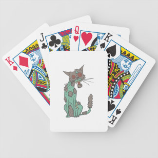Cat Creepy Zombie With Rotting Flesh Outlined Hand Bicycle Playing Cards