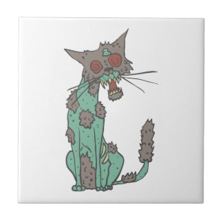 Cat Creepy Zombie With Rotting Flesh Outlined Hand Tile