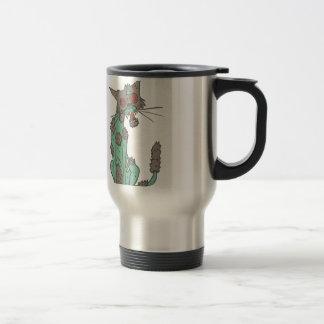 Cat Creepy Zombie With Rotting Flesh Outlined Hand Travel Mug