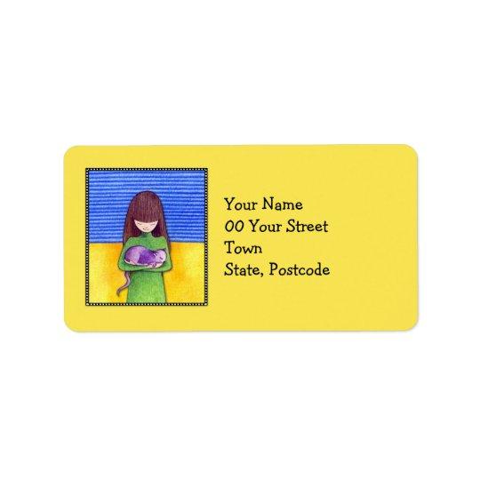 Cat Cuddle yellow Address Label